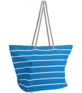 Geanta Plaja Bumbac cu Dungi 62x40 cm Albastru